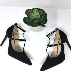 Zara T strap pointy toe heels